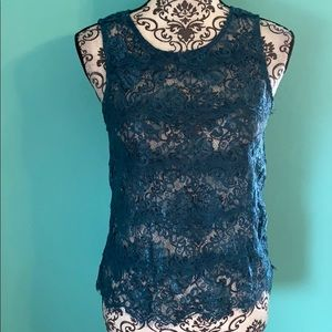 Bebe Lace Sexy Back Tie Lightweight Sheer Blouse